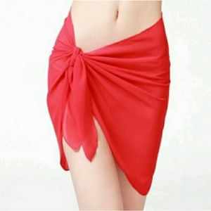 Other - SHEER RED SARONG PAREO SCARF WRAP COVER UP